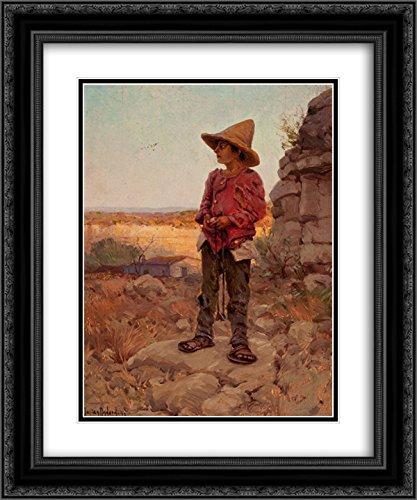 Robert Julian Onderdonk 2x Matted 20x24 Black Ornate Framed Art Print 'Goat Herder at the San Antonio - Antonio Quarry San