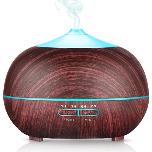 PECHAM 400ml Ultrasonic Aroma Cool Mist Essential Oil Diffuser, 7-Color LED Changing Lights, Whisper Quiet&Waterless Auto-Shut off Aromatherapy Humidifier for Home and Office, Kid Room, Yoga, Spa