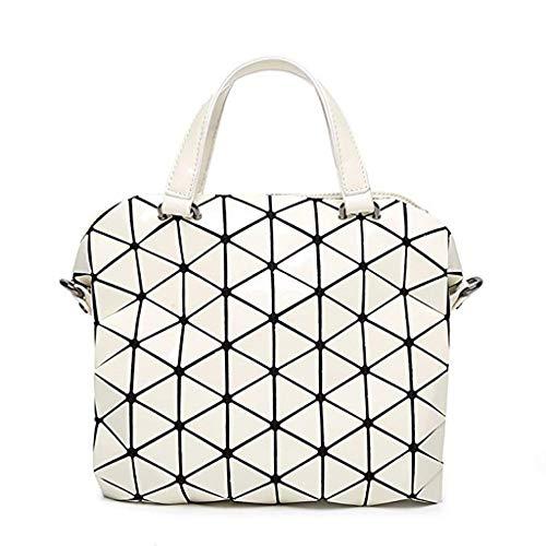 Della Briefcase White Elegante Donne Pu Nuovo Pieghevole Grande Bag Geometrica Cross body Capienza Borsa rwrCf5q