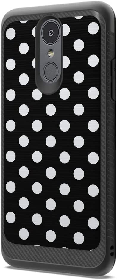 Moriko Case Compatible with LG Aristo 3, 3 Plus, Rebel 4 LTE [Drop Protection Dust Shock Impact Proof Soft Grip Carbon Fiber Protective Black Case Cover] for LG Aristo (Polka Dot Black)