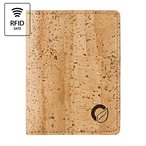 Mens Unique Leather (Corkor Cork Wallet RFID Slim Minimalist Front Pocket Men Women Vegan Non Leather Natural)
