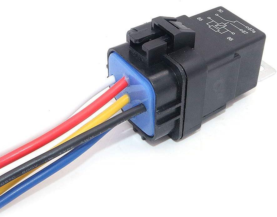 DollaTek 2Pcs Arn/és de rel/é a Prueba de Agua 40//30 Amp SPDT Rel/é 12V 5 Pin Rel/é automotriz con Servicio Pesado 16AWG 14AWG Arn/és precableado