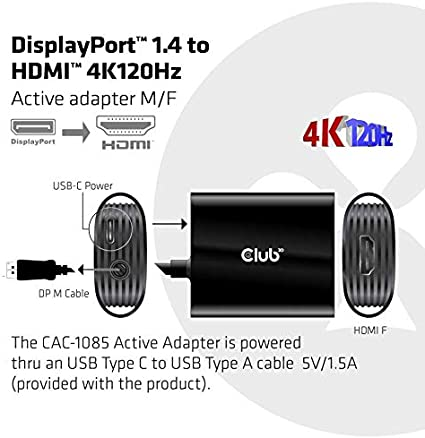 Club 3D DisplayPort/™1.4 auf HDMI/™ 4K120Hz HDR Aktiver Adapter St.//B
