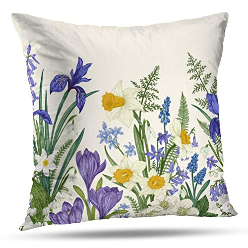 """Soopat Decorative Pillow Cover 18""""X18"""" Two Sides Printed Vintage Botanical Iris Flower Floral Garden Throw Pillow Cases Decorative Home Decor Indoor Nice Gift Kitchen Garden Sofa Bedroom Car from Soopat"""