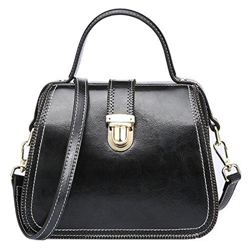 SAIERLONG Neues Damen Braun Echtes Leder Damen Handtaschen Schultertaschen Schwarz F1tQS