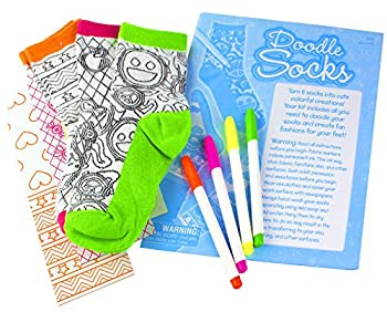 Creativity For Kids Doodle Socks – 3 Pairs Of Socks To Color – Teaches Beneficial Skills – On Size Fits Most – For Ages 7 & Up 1