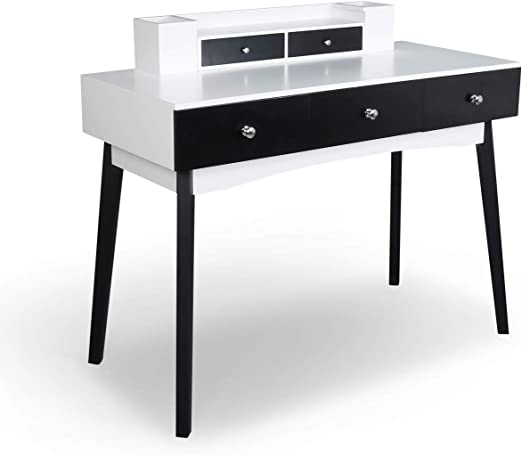 Black Home Office Furniture Writing Desk,Computer Work Station with Detachable Hutch,5 Drawers