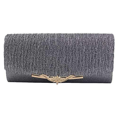Clutches Wocharm Clutch Womens Glitter Handbag Wedding Party Evening Box Grey Elegant wwqYrz