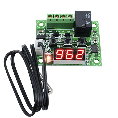 Diymore W1209-50-110°C 12V DC Digital Red LED Display Thermostat Temperature Controller Switch Sensor Module with Waterproof Sensor Probe ()