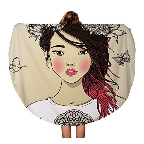 - Pinbeam Beach Towel Abstract Young Beautiful Asian Woman Flowers Asia Beauty Travel 60 inches Round Tapestry Beach Blanket