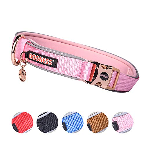 DOGNESS Classic Dog Collar, Comfort Soft Neoprene Padded Nylon, Ultra Safety Reflective Piping, 4 Sizes 5 Colors for…
