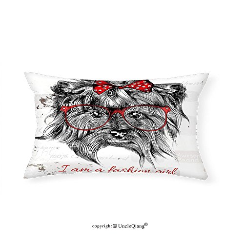 VROSELV Custom pillowcasesAnimal I am a Fashion Girl Quote Sketch Cute Hipster Dog with Sunglasses and Red Bow for Bedroom Living Room Dorm Red Black White(14''x24'') by VROSELV