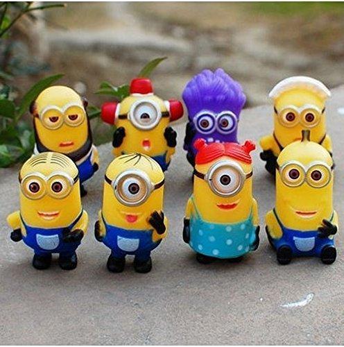 Despicable Me 2 Minions Purple Evil Minion 8pcs/set PVC Action Figure Doll Kids Gift
