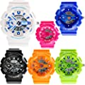 New Unisex Fashion Sport Watch Analog/Digital Water Resist Dual Time Multifunction Alarm Led Womens Mens Wristwatch 6 Colours Option (Black01)