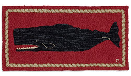 Chandler 4 Corners Beautiful Handmade Decorative Rug By Hand Hooked Black Whale On Red Rug 2'x4' - 100% Wool