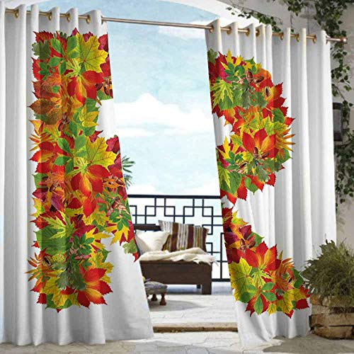 DILITECK Outdoor Waterproof Curtain Letter R Floral R Made with Maple Leaves Bouquet Essence Autumn Inspirations Initials Theme Waterproof Patio Door Panel W96 xL84 Multicolor