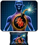 Liili Mouse Wrist Rest and Small Mousepad Set, 2pc Wrist Support IMAGE ID: 11840317 Human heart attack time as a symbol of urgent health problems due to poor cholesterol level