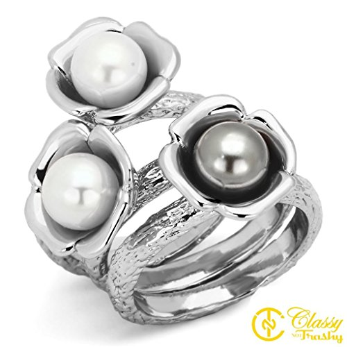 3 Stone Pearl Ring (Classy Not Trashy Women's Fashion Jewelry Ring, Premium Grade Stainless Steel Multi Color Synthetic Stone Set of 3 Triple Faux Pearl Flowers Ring Size)