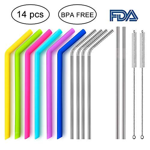 Reusable Silicone Straws & Stainless Steel Straws,Yomiro 6 Colors Silicone Straws and 6 Stainless Steel Straws with 2 Cleaning Brushes Storage Pouch Included for 30 oz Yeti Tumbler/Ttic-PDA Free