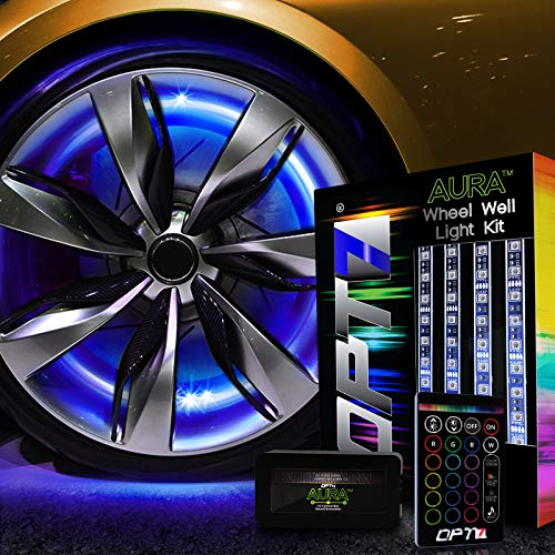 (OPT7 3-Into-1 Aura Wheel Well LED Kit Strips w/SoundSync (Single Row)...)