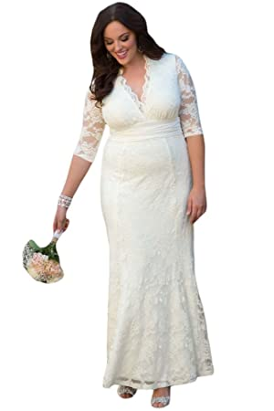 New White Lace Plus Size Evening Dress Prom dress cocktail dress party wedding gown size UK