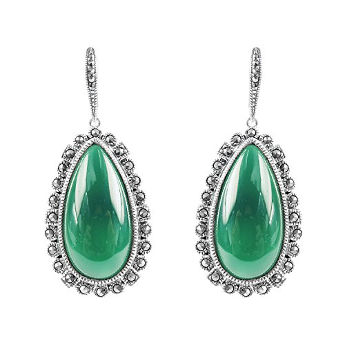 Aura 925 Sterling Silver Earring Green Agate, Marcasite