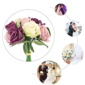 Artificial & Dried Flowers - 9pcs Set Artificial Rose Silk Flower Wedding Bouquet Romantic Contrast Color Party Home Decoration 6 - Artificial Dried Flowers 49