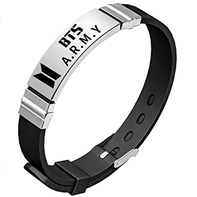Teblacker BTS Bracelet | Unisex Kpop Bangtan Boys Jungkook, Jimin, V, Suga, Jin, J-Hope, Rap Monster Birthday Wristband Wristlet | Best Gift for The Army (Black BTS Army): Toys & Games