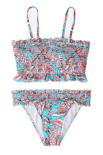 - momolove Two Piece Strapless Pleated Bikini Sets Padded Smocked Swimsuit Bandeau Bathing Suit Blue M