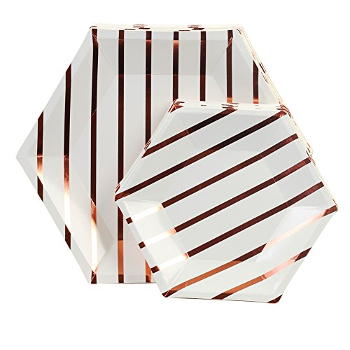 Andaz Press Rose Gold Foil Striped Paper Party Plate Sets, Hexagon Shape, 10.5-inch 7.5-inch, 36-Pack, Bulk Geometric Disposable Modern Party Tableware Décor for Kids Birthday, Graduation, Wedding by Andaz Press