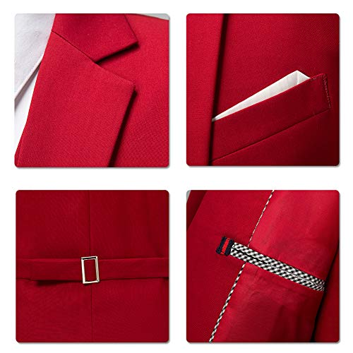 pezzi da da sposa 3 Gilet rosso Abito giacca Costume uomo Tuxedo pantaloni e ftwzqdz