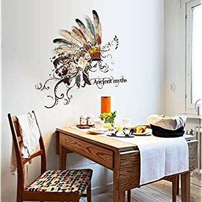Wall Stickers UAE Hat Fashion Personality Restaurant Entrance, Tv Wall, Decorative Feather, Home Decoration Stickers 50X70Cm: Kitchen & Dining
