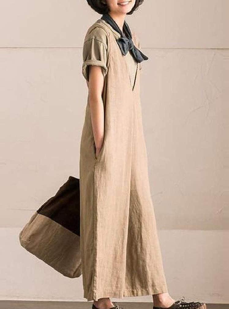 Sebaby Womens Plus Size Wide Pant Sleeveless V-Neck Comfort Jumpsuits Romper