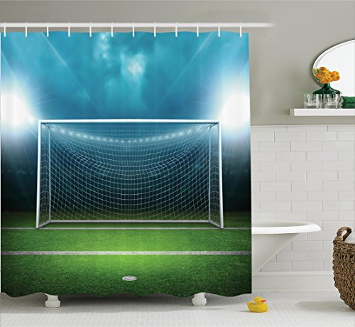 Ambesonne Sports Decor Shower Curtain Set, Soccer Goal Post Sports Area Winner Loser Line Floodlit Best Team Finals Game Gym Theme, Bathroom Accessories, 84 Inches Extralong, Green Blue
