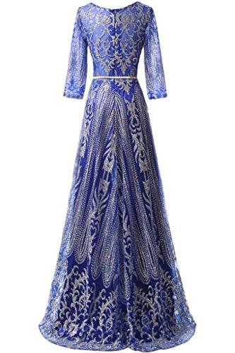 ivyd ressing Donna Elegante a maniche lunghe, cintura a linea di abito del partito Prom abito Fest vestito abito da sera blu royal 44