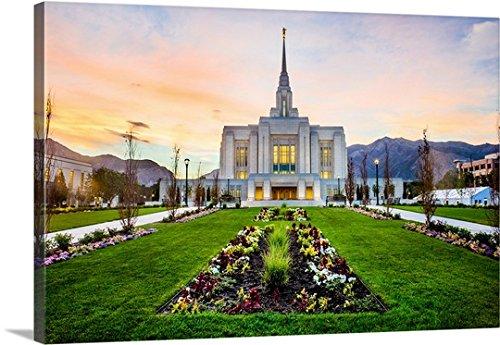 Scott Jarvie Gallery-Wrapped Canvas entitled Ogden Utah Temple at Sunrise, Ogden, Utah by greatBIGcanvas