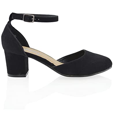 0457e84fe95 ESSEX GLAM New Womens Low Mid Block Heel Ankle Strap Buckle Ladies Sandals  Court Shoes  Amazon.co.uk  Shoes   Bags