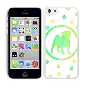 Funda carcasa para Apple iPhone 5C diseño perro bulldog estampado colores huellas borde blanco