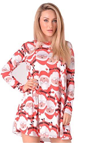 20 Claus Red Xmas XXL Novelty Dress Face Big Plus Ladies 22 Santa 22 Printed Christmas Women Size 8 Swing XqTwRx