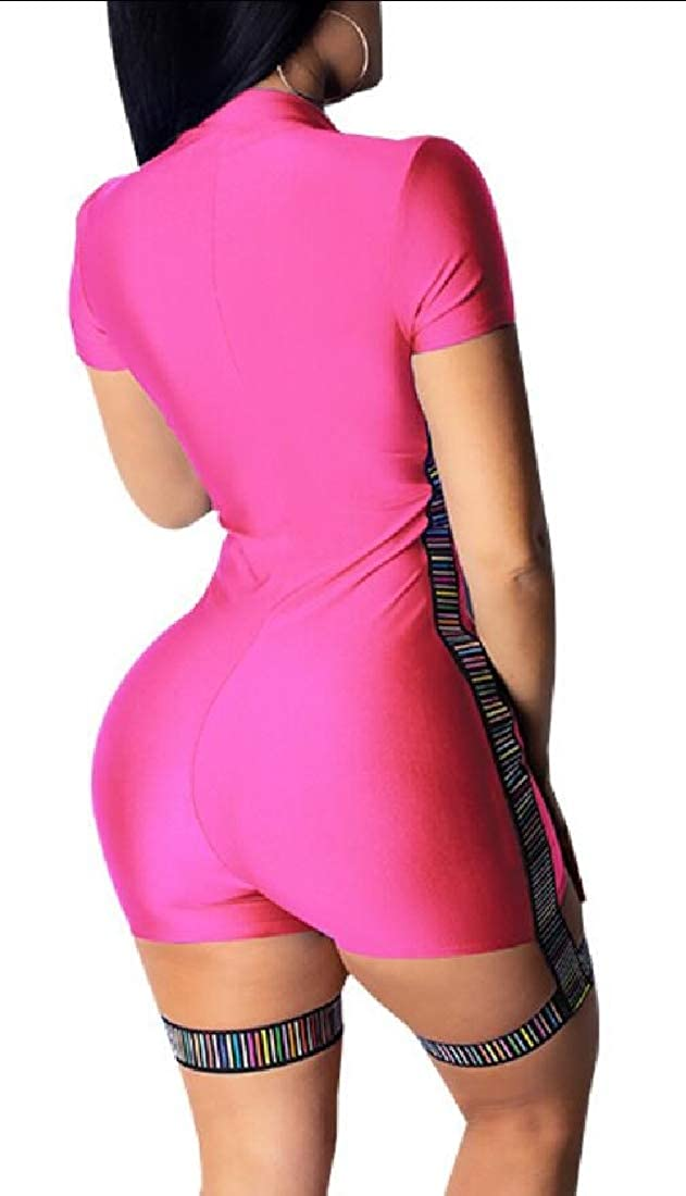 Womens Front Zipper Short Sleeve Bodycon Shorts Jumpsuits Rompers