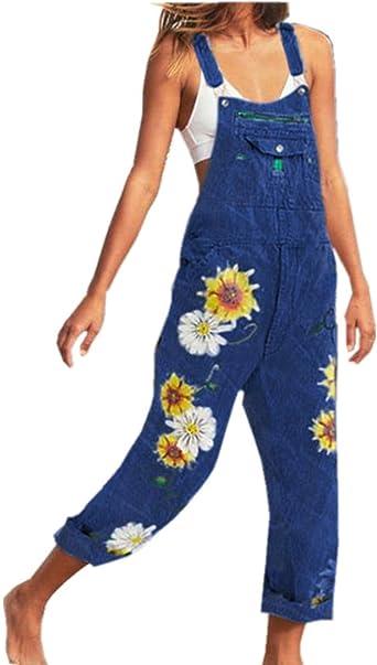 Women Floral Jumpsuit Playsuit Ladies Demin Sleeveless Dungarees Overalls Pants