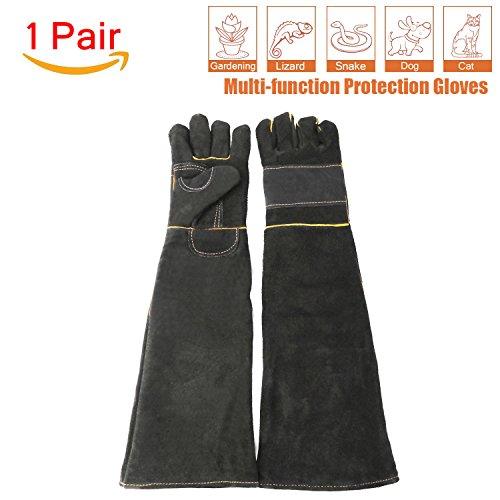 Discount ATROPOS 23.6inch Animal Handling Anti-bite/scratch Gloves for Dog Cat Bird Snake Parrot Lizard Wild Animals Protection Gloves,Feed Gloves (black)