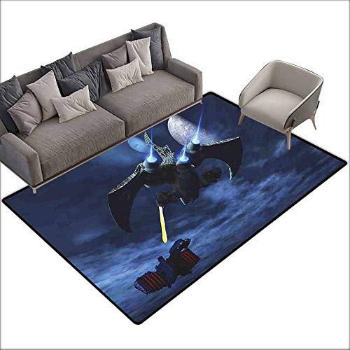 - Children's Rugs Playrug Rugs Galaxy Spaceship Blasts a Laser Beam an Enemy Alien Ship Galaxy Clash Outer Space Pattern Breathability W5' x L7'10 Blue Black