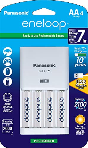 Panasonic K-KJ75MCA4BA Advanced Individual Battery Charger With USB Charging Port 4AA eneloop 2100 Cycle Rechargeable Batteries ()