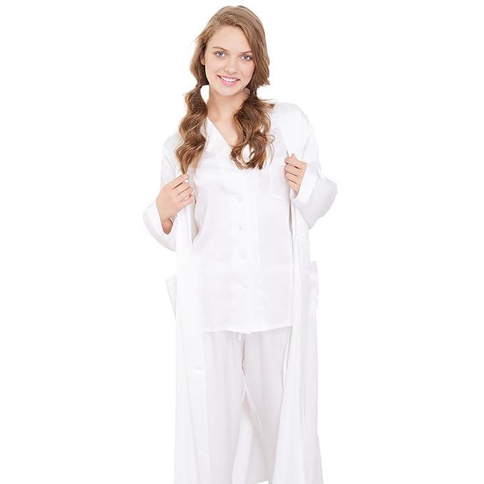 Lilysilk Conjunto de Pijamas y Bata para Mujer Estilo Clásico 100% Seda de Mora Natural de 22 Momme, Blanco XXL: Amazon.es: Ropa y accesorios