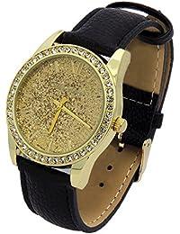Ladies Gold Tone Gold Glitter Dial Leather Band Fashion Casual Quartz Wrist Watch Watches Mark Naimer