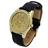 Ladies Gold Tone Gold Glitter Dial Leather Band Fashion Casual Quartz Wrist Watch Watches Mark Naimer