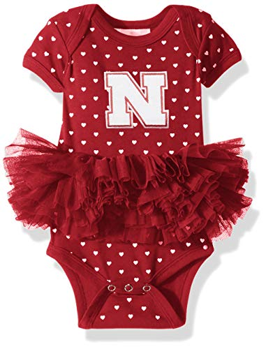 (Two Feet Ahead NCAA Nebraska Cornhuskers Girls Infant Girls Heart Tutu Creeperinfant Girls Heart Tutu Creeper, Red, 12 Months)