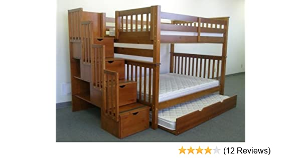Amazoncom Bedz King Full Over Full Stairway Bunk Bed With Twin