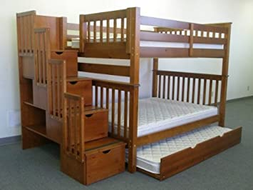Bedz King Full Over Stairway Bunk Bed With Twin Trundle Espresso